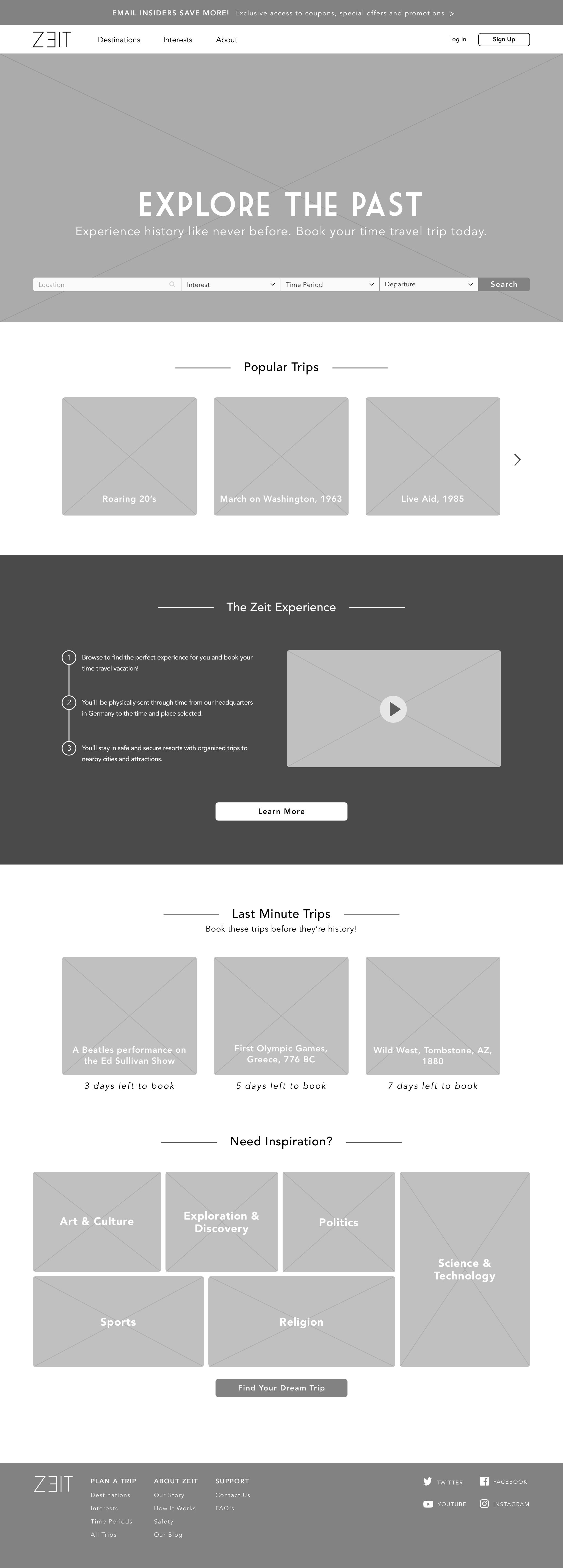 Zeit Wireframe – Homepage